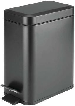 mDesign 1.3 Gallon Rectangular Small Steel Step Trash Can Wa