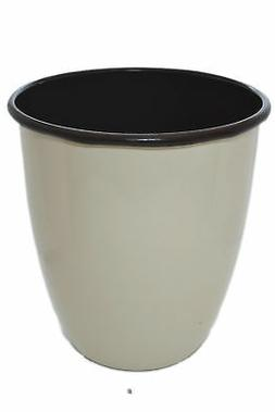 "10"" Enameled Off White & Brown Metal Waste Basket Trash Can"