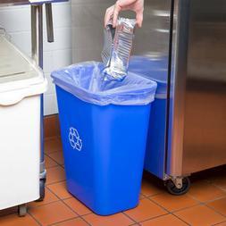 10 Gallon Blue Heavy-Duty Rectangular Plastic Recycle Bin Wa