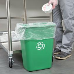 10 Gallon Green Heavy-Duty Rectangular Plastic Recycle Bin W