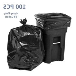 100Pcs 64 Gallon Trash Bags Heavy Duty Garbage Waste Can Cle