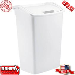 Trash Can 11.25 Gal. White Plastic Fits Tall Kitchen Bags Wi