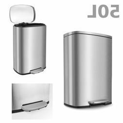 13.2Gallon Trash Can Brushed Stainless Steel Rectangular Gar