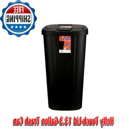 13.3-gal Hefty Touch Lid Trash Can, White with Decorative Te