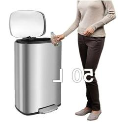 13 Gal Stainless Steel Trash Can Large Rectangular Garbage B