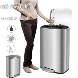 13 Gal Stainless Trash Can Rectangular Brushed Silver Fashio