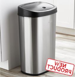 13 Gal Trash Can Motion Sensor Stainless Steel Kitchen Garba