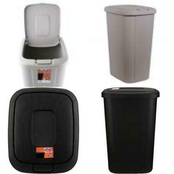 13 Gallon Lid Trash Can Hefty Indoor Kitchen Waste Basket Pl