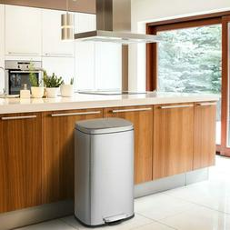 13-Gallon Modern Stainless Steel Kitchen Trash Can with Foot