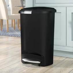 simplehuman 13 Gallon Semi-Round Step Trash Can, Plastic