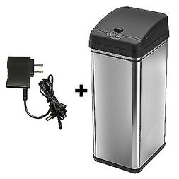 iTouchless 13 Gallon Sensor Trash Can Battery,Silver,1AC Ada