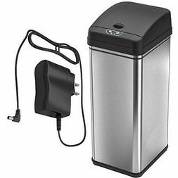 iTouchless 13 Gallon Sensor Trash Can with AC Adapter, Batte