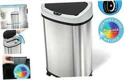 13 Gallon Sensor Trash Can with Wheels and AbsorbX Odor Cont