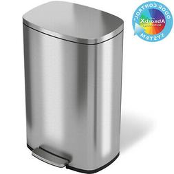 13 Gallon Stainless Steel Step Trash Can Kitchen Home Office
