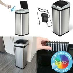 iTouchless 13 Gallon Stainless Steel Touchless Trash Can wit