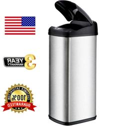 13 Gallon Touch-Free Sensor Automatic Stainless-Steel Trash
