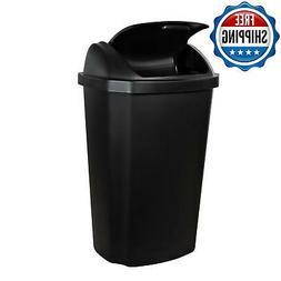13-Gallon Trash Can Plastic Lid Swings Large & Base Large Wa