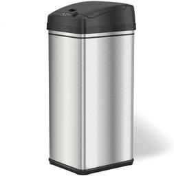 13Gallon Automatic Trash Can w/Odor-Absorbing Filter,Lid Loc