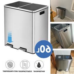 16 Gal Dual Trash Can Recycle Bins Fashion Kitchen Office Si