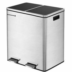 16 Gal Step Trash Can Double Recycle Pedal Bin 2x30L Garbage