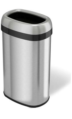 iTouchless 16 Gallon Dual-Deodorizer Oval Open Top Trash Can