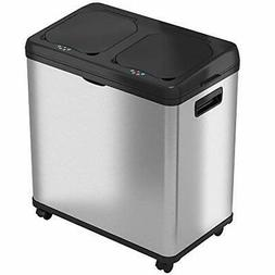 iTouchless 16 Gallon Touchless Trash Can and Recycle Bin Sta