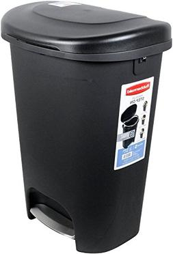 Rubbermaid 1843028 Step-On Wastebasket, 13-Gallon, Black