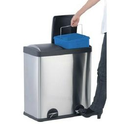 Step N' Sort 16-Gallon 2-Compartment Stainless Steel Trash a