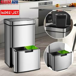 2 Layer Recycling Sensor Trash Can Kitchen Waste Auto Motion