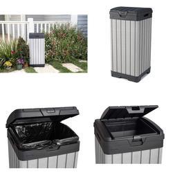 Keter 237924 Rockford Duotech Outdoor Plastic Resin Trash Ca