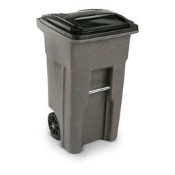 Toter 25532-07GRS 2-Wheeled Trash Can w/ Attached Lid, Green