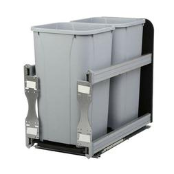 27 Qt In-Cabinet Soft-Close Double Trash Can Under Mount Was
