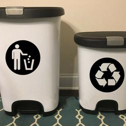 2Pc/Set Trash Can Decor Classification Sign Vinyl Art Decal
