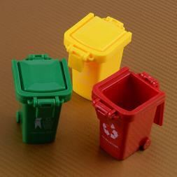 3 Color Cute Mini Trash Can Bin Toy Garbage Truck Curbside T
