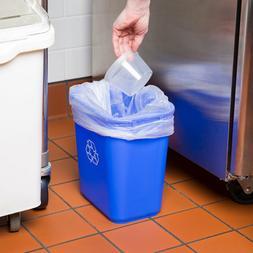 3 Gallon Blue Heavy-Duty Rectangular Plastic Recycle Bin Was