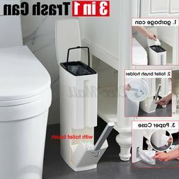 3 In 1 Bathroom Trash Can Garbage Bin Kitchen Waste Basket w