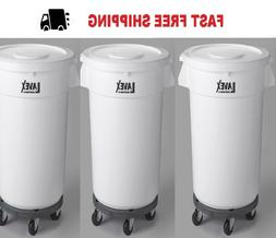 3 PACK 32 Gallon White Round Trash Can Ingredient Bin With L
