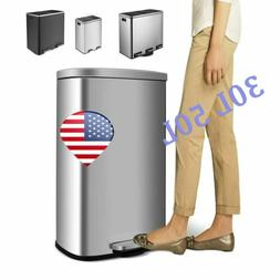 30-60L Gallon Kitchen Step Trash Can Stainless Steel Garbage