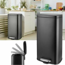 30L Stainless Steel Trash Can Step-on Garbage Kitchen Bin w/