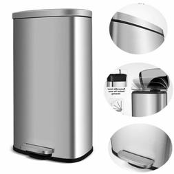 30L Stainless Steel Trash Can with Lid Wastebasket Garbage B