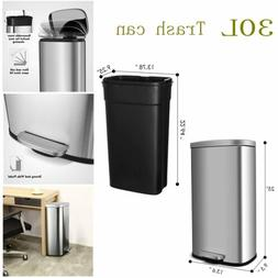 30L Stainless-Steel Trash Can with Lid and Inner Bucket Rect