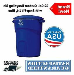 32 Gal. Roughneck Outdoor Recycling Bin Garbage Trash Can wi