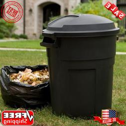 32 Gal Wheeled Heavy Duty Tough Outdoor Recycle Trash Can wi