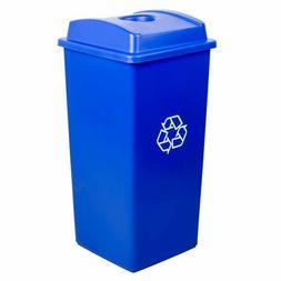 32 Gallon Blue Heavy Duty Plastic Square Recycling Trash Can