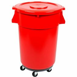32 Gallon Trash Can Ingredient Bin Lid Dolly Commercial Kit