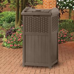 Suncast 33 Gallon Outdoor Trash Can for Patio - Resin Outdoo