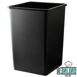 35 Gallon Black Square Trash Can No Lid Heavy Duty Plastic D