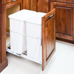 35-quart- White Double Pull-out Waste Container System/2 Can