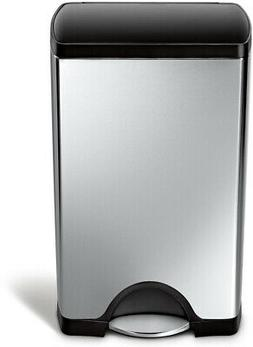 Trash Can 38-Liter Brushed Stainless Steel Step-On Rectangul