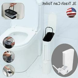 3L Plastic Trash Can W/ Toilet Brush Set Bathroom Waste Bin